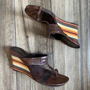 BCBGirls Brown Wooden Wedges, Striped Heel Size 7
